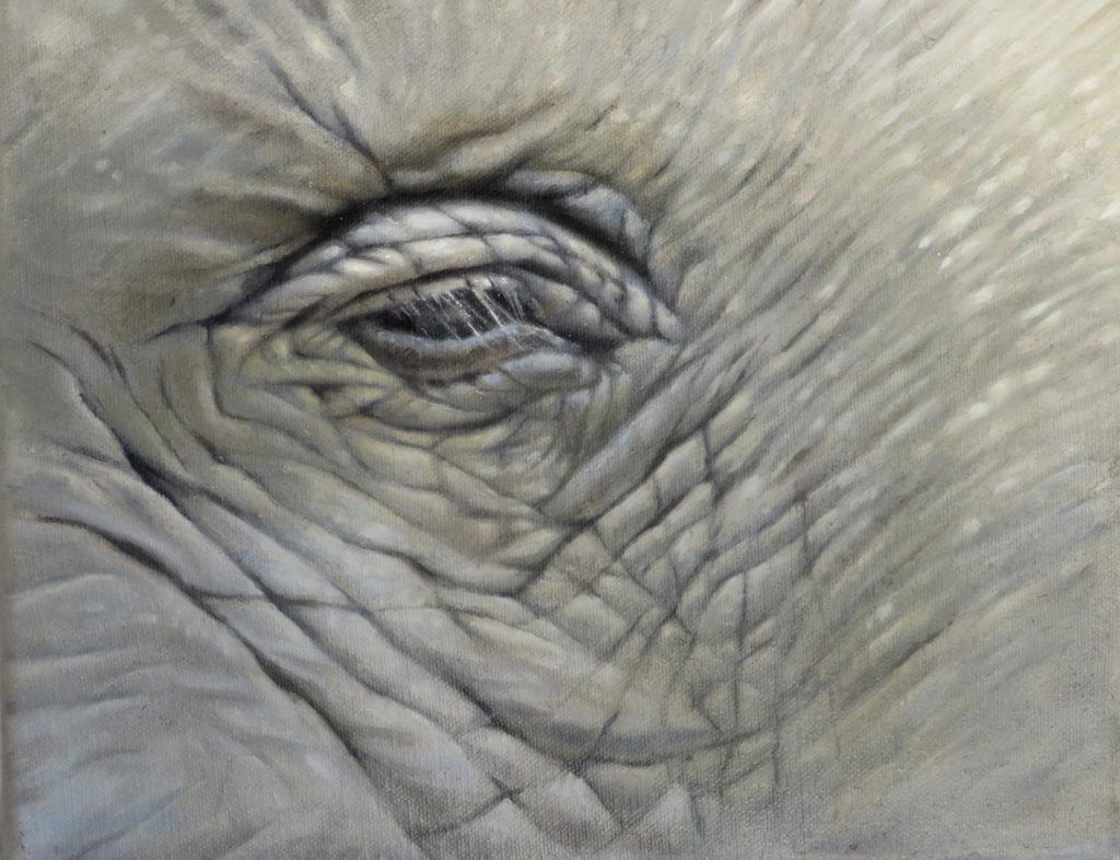 Se långt. Blyerts och olja. Elefanter utrotas. Konstnär Anna Toresdotter