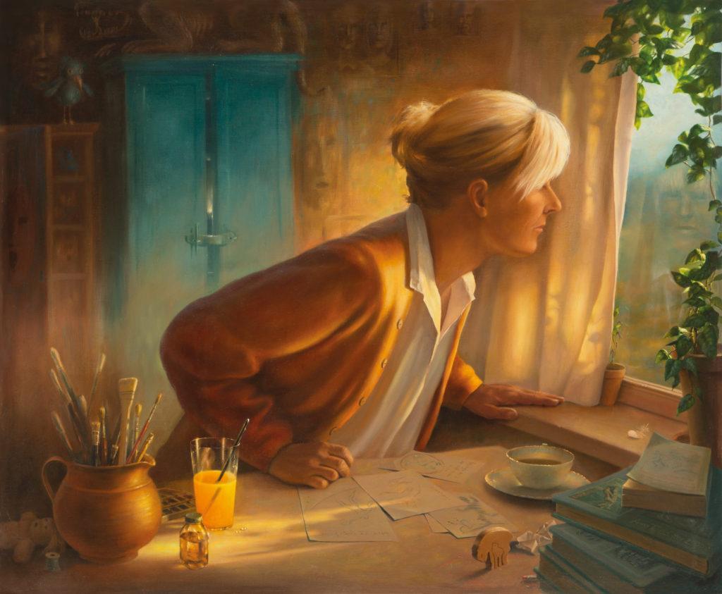 Reflektion, oljemålning, Anna Toresdotter